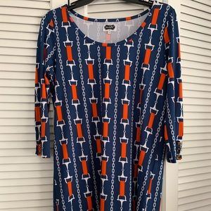 Navy and orange mid-length dress. Never worn.